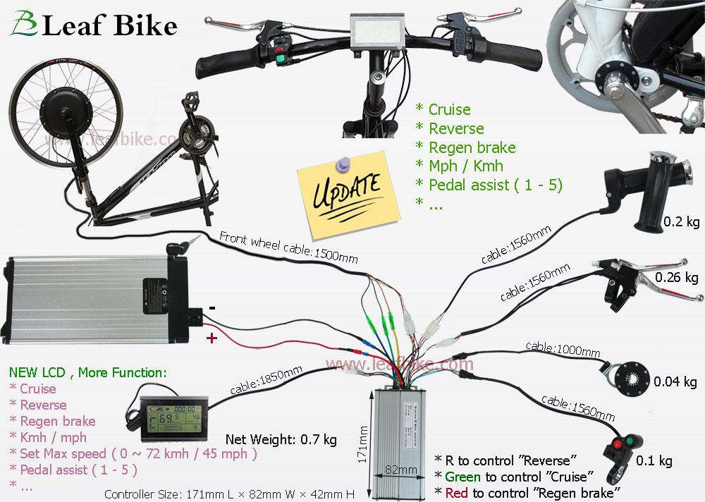 20 inch 48v 1000w front hub motor electric bike conversion kit leaf newest version