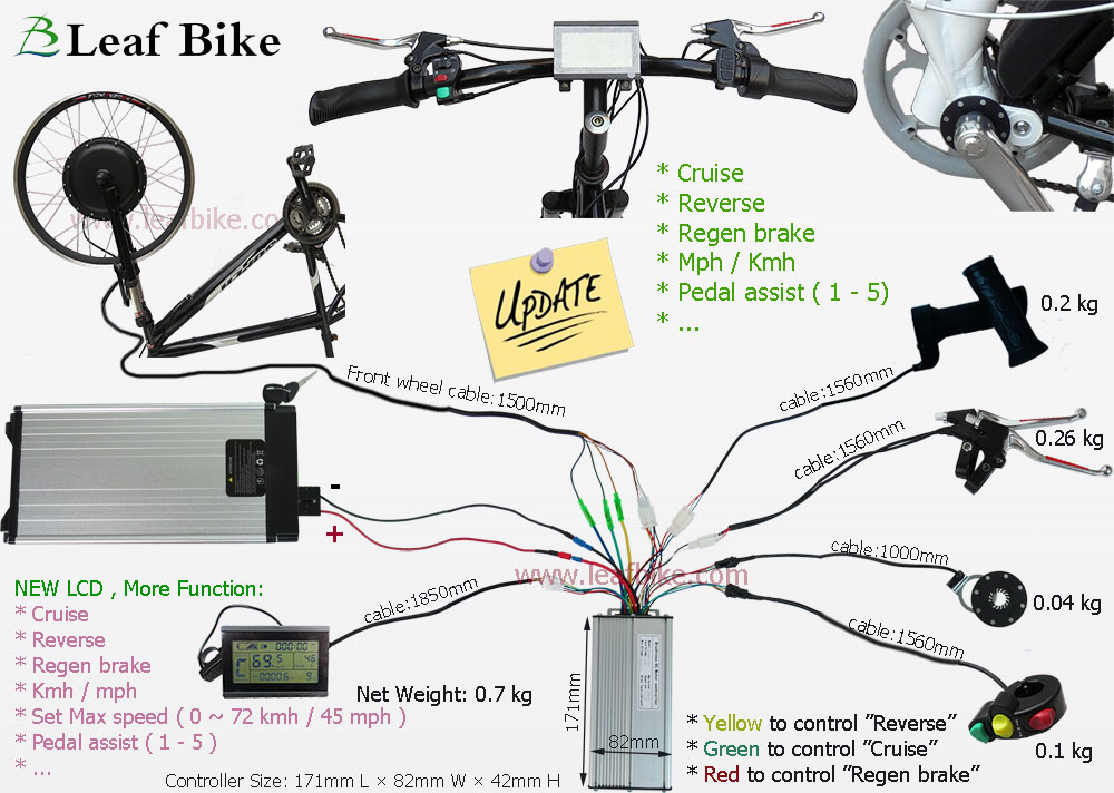 26 inch 48v 1000w front hub motor electric bike conversion