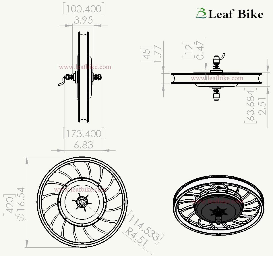 20 inch 48v 1000w front casted hub motor electric bike conversion kit